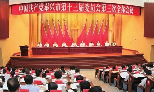 中共泰兴市委十三届三次全会召开