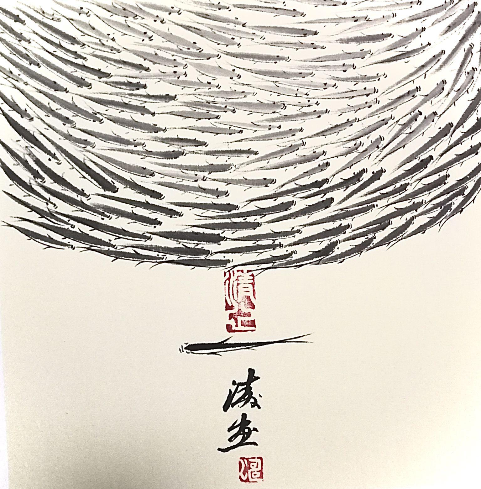 国画《为逆行者点赞 》 丁海涛